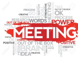MEETING. Word business collage, vector background